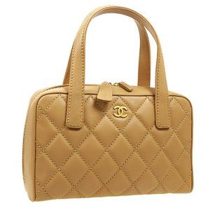 CHANEL Wild Stitch Quilted CC Hand Bag 8744016 Pur